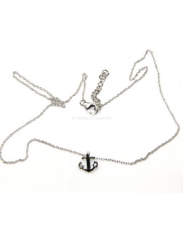 "silver 925: Necklace Collier man woman ""forzatina"" 40 + 3 and small anchor white zirconia"