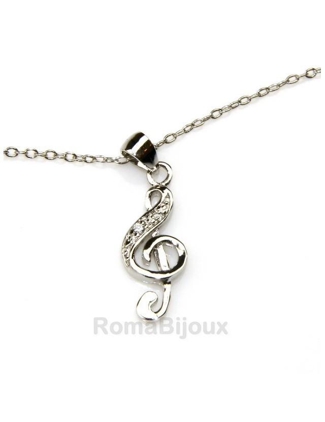 Argento 925 : Bracciale cavigliera uomo donna con pendente chiave di violino zirconi bianchi