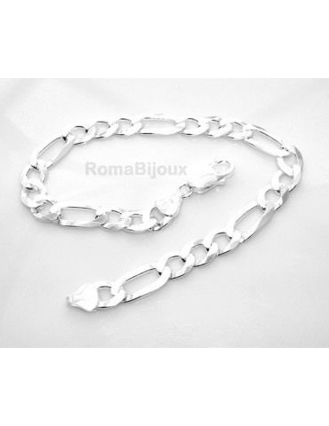 SILVER 925: Man Bracelet Chain 7.5 mm figaro 3 + 1 bleached very long XXL !