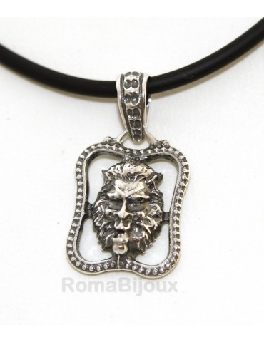 Silver Pendant 925: for man. Lion burnished medium frame with lace and handmade
