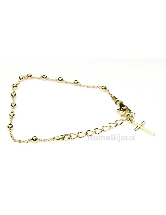 Rosary bracelet man or woman in 925 sterling silver cross smooth rod yellow gold or white 16-20 cm