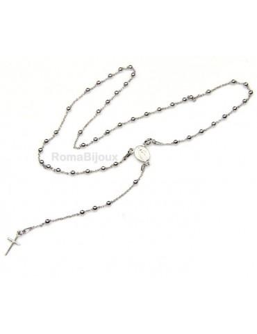 Collana rosario uomo o donna in Argento 925 48 cm croce liscia colore Oro bian