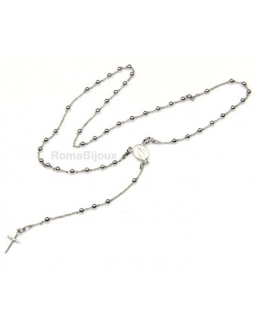 Rosary necklace man or woman in Silver 925 - lenght 48 cm cross smooth color White Gold