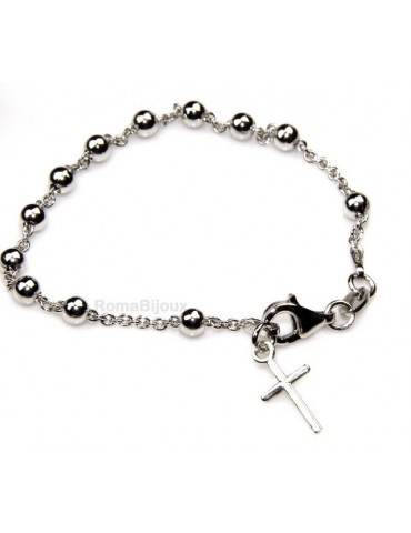 Rosary bracelet man or woman in 925 sterling silver cross smooth rod White gold balls 4 mm length 15.50