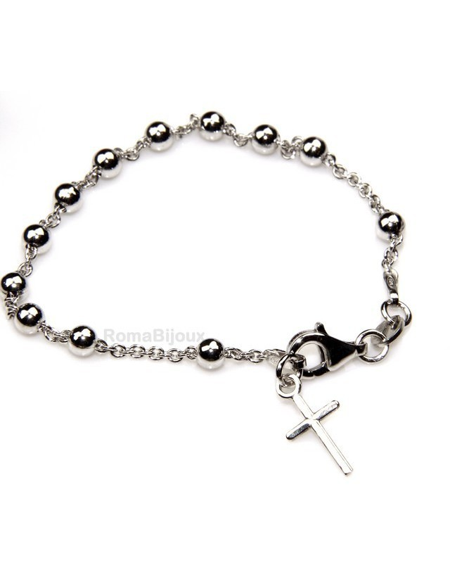 Bracciale rosario uomo o donna in Argento 925 croce liscia rod Oro bianco palline 4 mm mis 15,50