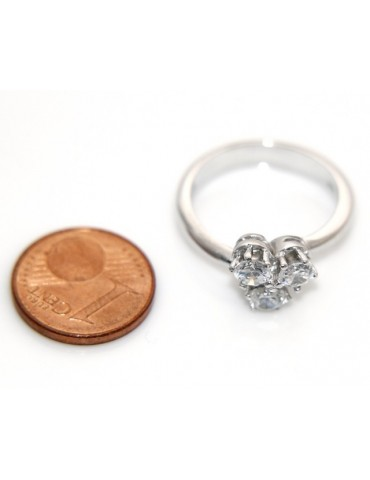 Trilogy ring: 925 sterling silver plated with 3 Zirconia 4 mm brilliant cut - more sizes