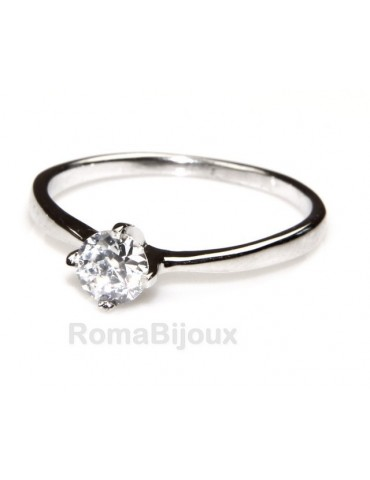 Silver 925 : Solitaire ring for woman with zircon 5mm brilliant cut 4 jaws