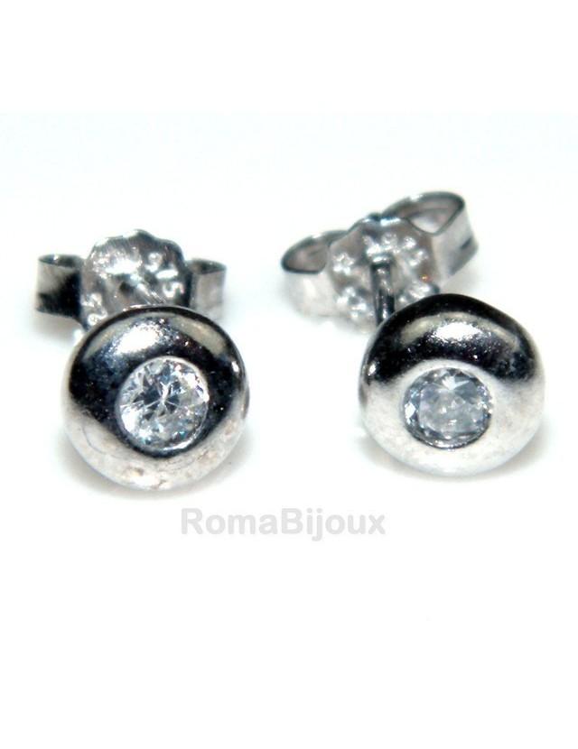 925 silver :earrings woman man onion domed 3mm cubic zirconia