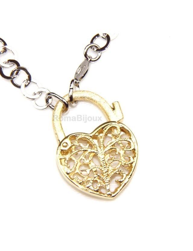 ARGENTO 925 : Girocollo satinato con chiusura ciondolo lucchetto apribile oro Giallo o Rosa