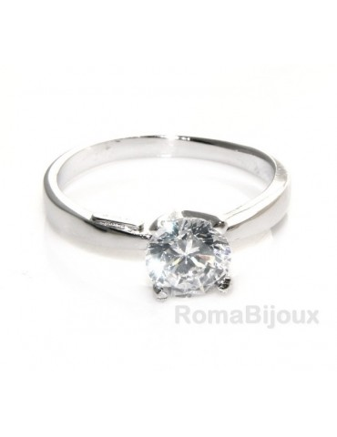 silver 925 Rhodium: Solitaire with zircon 5.5mm brilliant cut