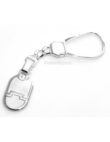 Keychain keyring man or woman plate machined oval glossy all 925 Silver Massif 16 gr