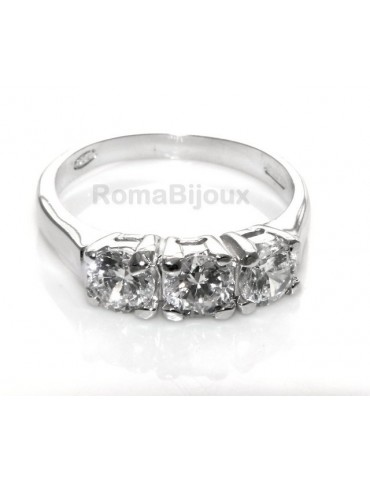 silver 925 ring for woman : Trilogy with brilliant cut cubic zirconia 0.5 cm