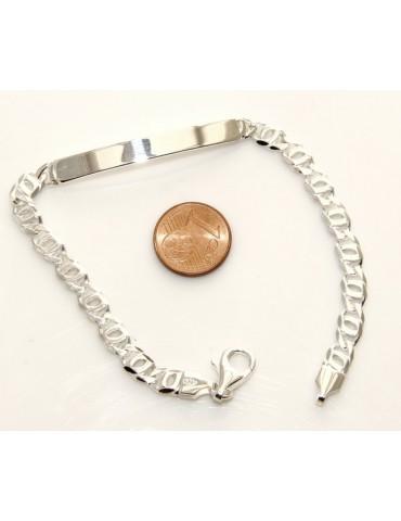 SILVER 925: Bracelet man massive chain gourmette plate reliefs 11 cm 11,40 gr