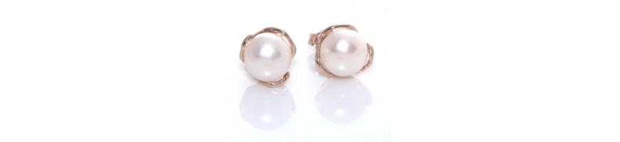 Categoria Pearl Earrings - RomaBijoux : Orecchini donna in Argento 925 con perla barocca, madreperla e corallo , Maestosi ore...
